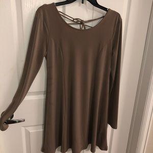 Tan silk, long sleeve forever21 dress